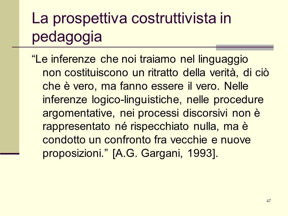 47 La prospettiva costruttivista in pedagogia Le inferenze che noi traiamo nel linguaggio non costituiscono un ritratto della verità, di ciò che è ver