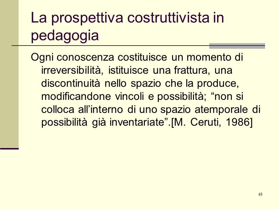 48 La prospettiva costruttivista in pedagogia Ogni conoscenza costituisce un momento di irreversibilità, istituisce una frattura, una discontinuità ne