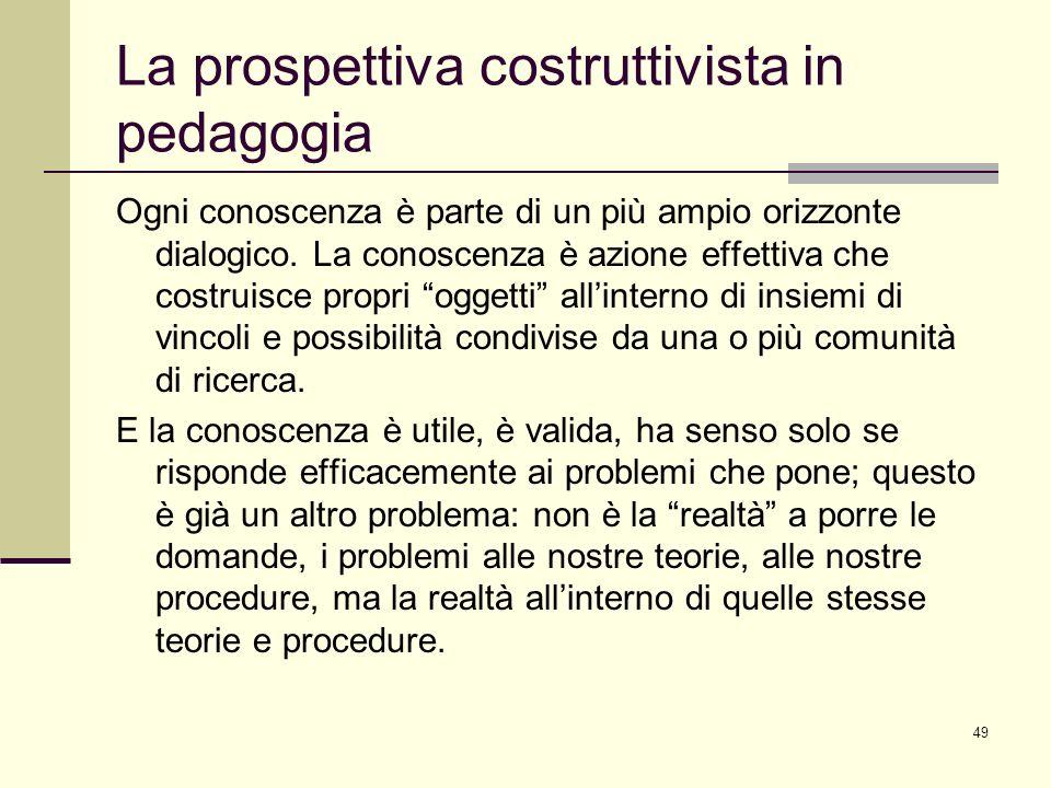 49 La prospettiva costruttivista in pedagogia Ogni conoscenza è parte di un più ampio orizzonte dialogico. La conoscenza è azione effettiva che costru