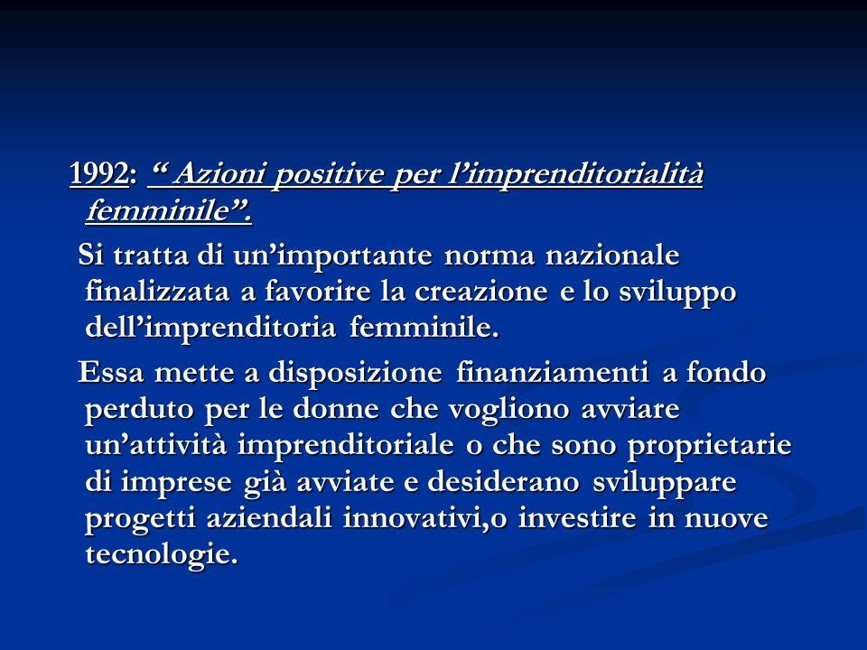 1992: Azioni positive per limprenditorialità femminile.