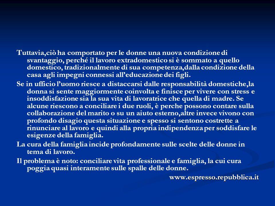 Un accurata analisi dell ultimo rapporto Istat in un ottica di genere è quella curata da Fiorella Farinelli (disponibile sul sito della Consigliera di Parità della Regione Lombardia).