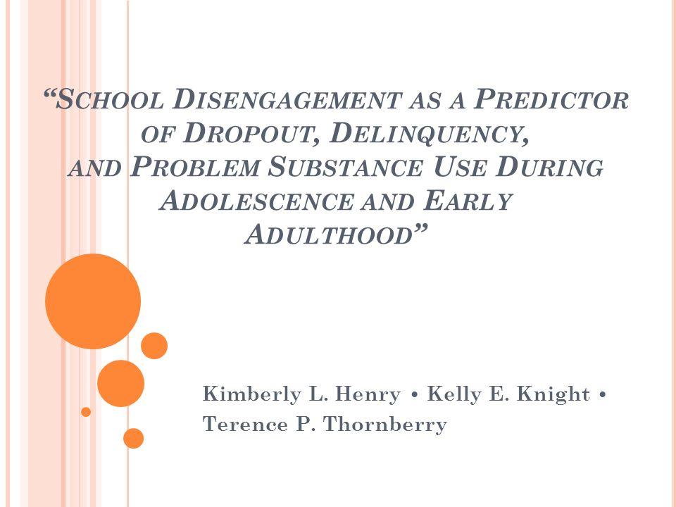 C ONCLUSIONI In generale possiamo dire che il disimpegno scolastico, misurato tra il 7° e l8°, è associato allabbandono scolastico e alla maggior parte dei comportamenti problematici in adolescenza, nonché alla loro perpetuazione in età adulta.