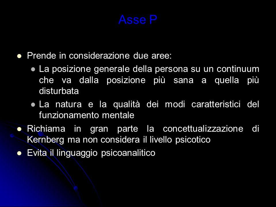 Asse P Prende in considerazione due aree: La posizione generale della persona su un continuum che va dalla posizione più sana a quella più disturbata