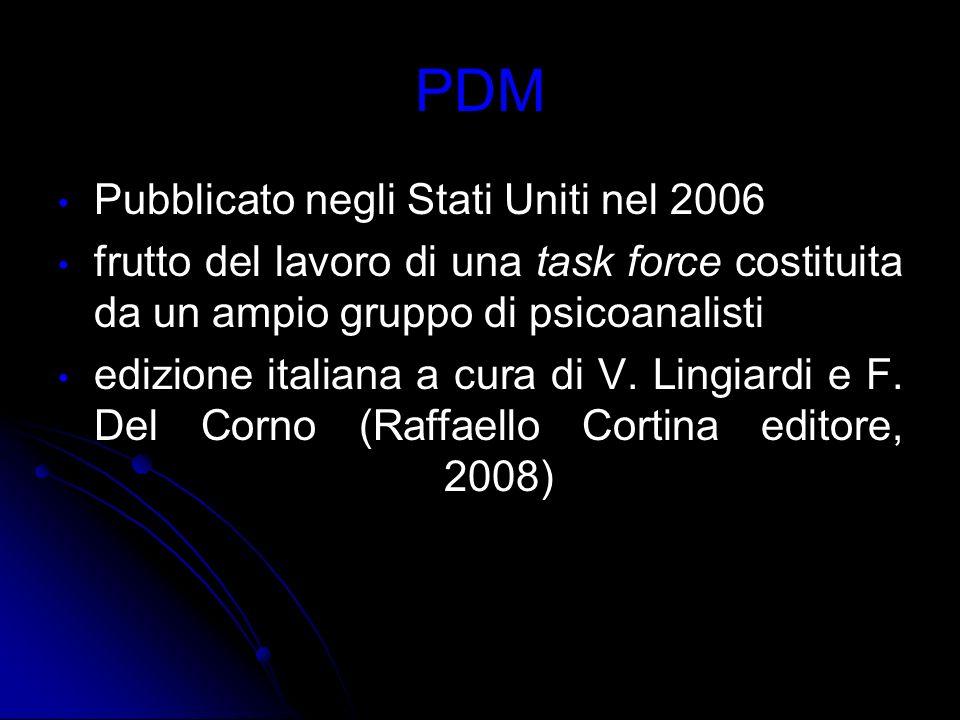 PDM Pubblicato negli Stati Uniti nel 2006 frutto del lavoro di una task force costituita da un ampio gruppo di psicoanalisti edizione italiana a cura