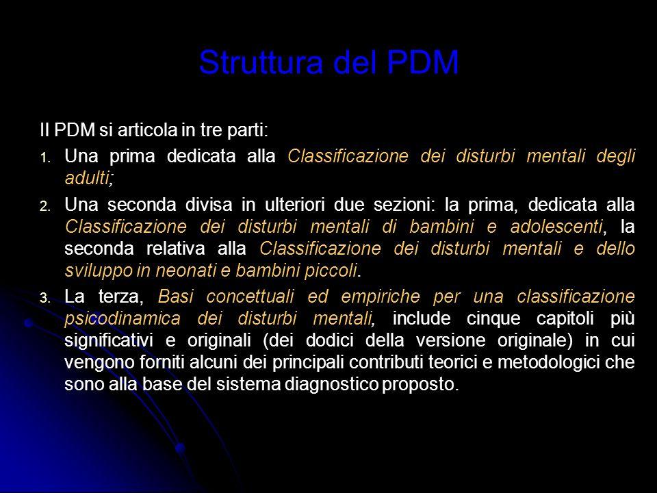 Struttura del PDM Il PDM si articola in tre parti: 1. 1. Una prima dedicata alla Classificazione dei disturbi mentali degli adulti; 2. 2. Una seconda