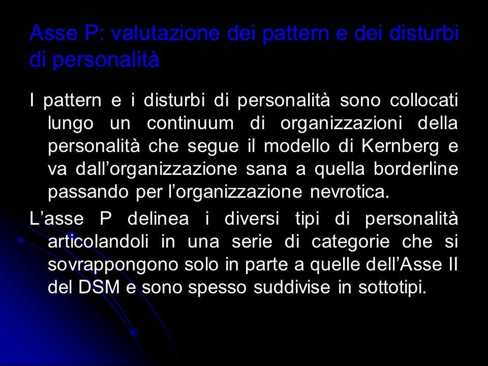 Asse P: valutazione dei pattern e dei disturbi di personalità I pattern e i disturbi di personalità sono collocati lungo un continuum di organizzazion