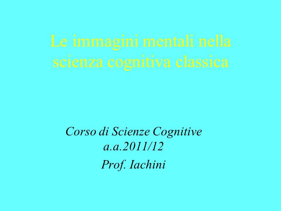 Le immagini mentali nella scienza cognitiva classica Corso di Scienze Cognitive a.a.2011/12 Prof. Iachini