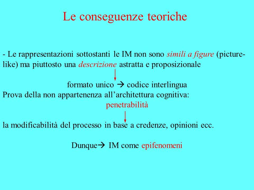 Le conseguenze teoriche - Le rappresentazioni sottostanti le IM non sono simili a figure (picture- like) ma piuttosto una descrizione astratta e propo