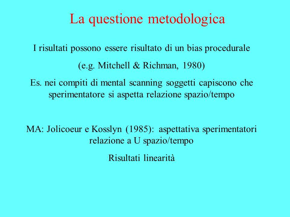 La questione metodologica I risultati possono essere risultato di un bias procedurale (e.g. Mitchell & Richman, 1980) Es. nei compiti di mental scanni