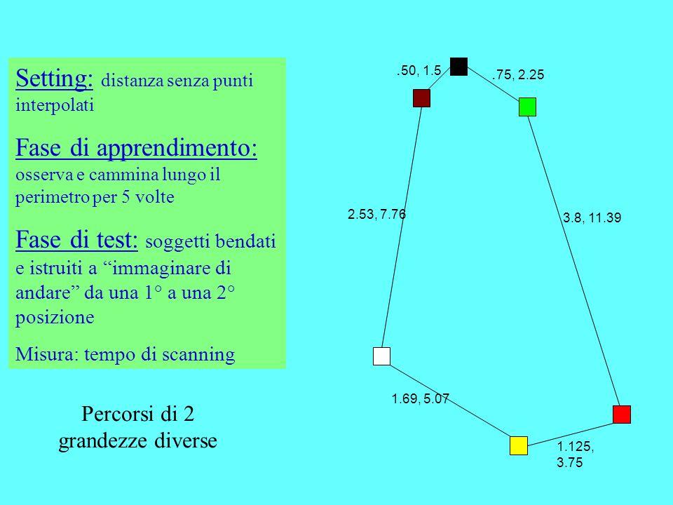 Setting: distanza senza punti interpolati Fase di apprendimento: osserva e cammina lungo il perimetro per 5 volte Fase di test: soggetti bendati e ist