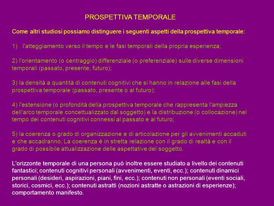 PROSPETTIVA TEMPORALE Come altri studiosi possiamo distinguere i seguenti aspetti della prospettiva temporale: 1) l'atteggiamento verso il tempo e le