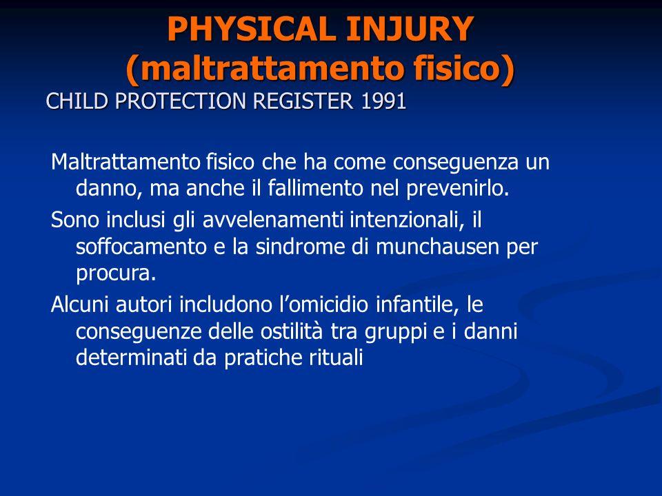 PHYSICAL INJURY (maltrattamento fisico) CHILD PROTECTION REGISTER 1991 Maltrattamento fisico che ha come conseguenza un danno, ma anche il fallimento