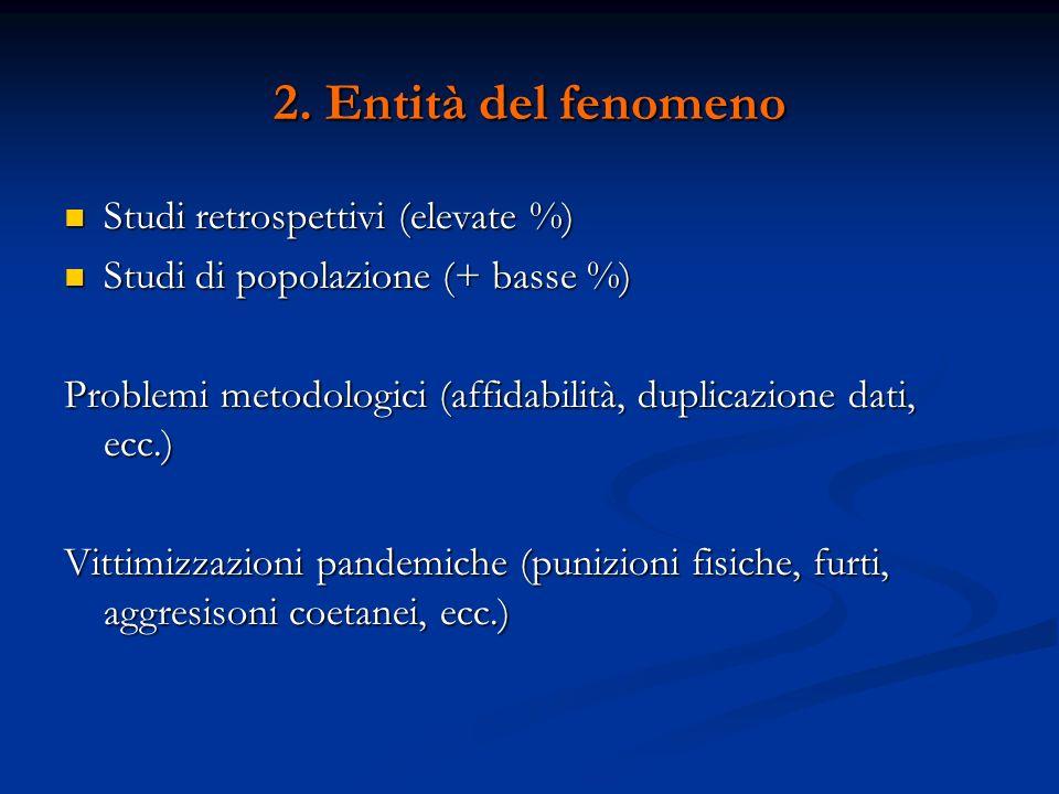2. Entità del fenomeno Studi retrospettivi (elevate %) Studi retrospettivi (elevate %) Studi di popolazione (+ basse %) Studi di popolazione (+ basse