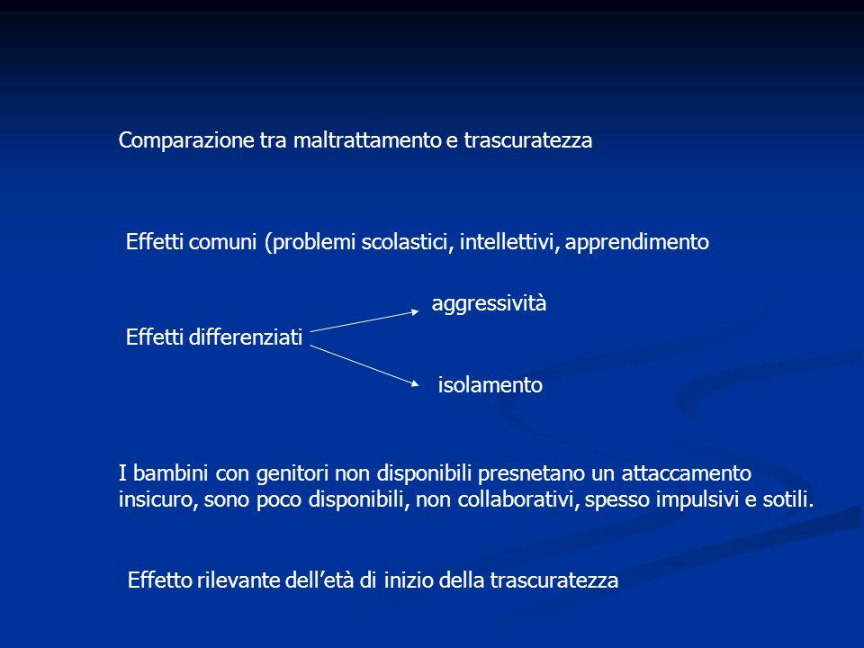 Comparazione tra maltrattamento e trascuratezza Effetti comuni (problemi scolastici, intellettivi, apprendimento Effetti differenziati aggressività is