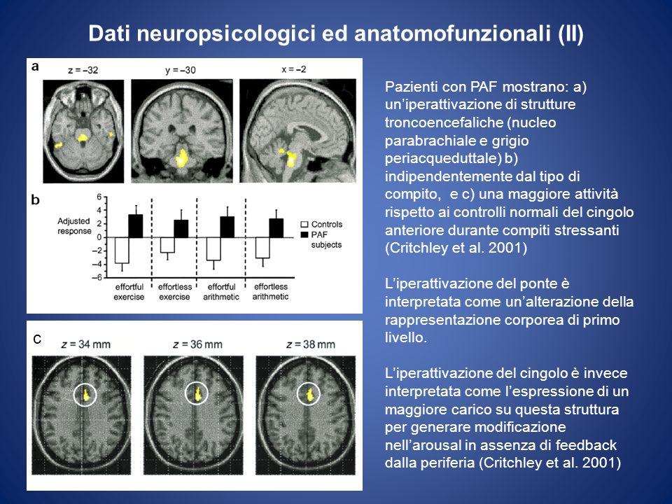 Dati neuropsicologici ed anatomofunzionali (II) Pazienti con PAF mostrano: a) uniperattivazione di strutture troncoencefaliche (nucleo parabrachiale e