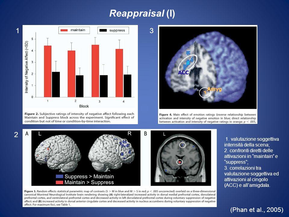 (Phan et al., 2005) 1. valutazione soggettiva intensità della scena; 2. confronti diretti delle attivazioni in maintain e suppress; 3. correlazioni tr