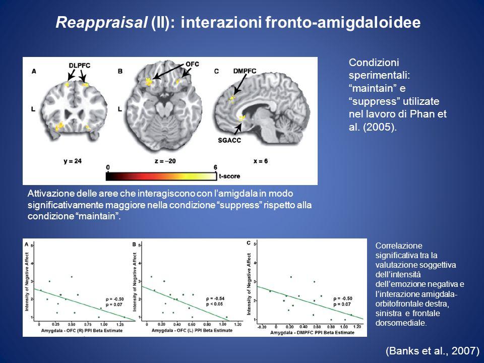 (Banks et al., 2007) Attivazione delle aree che interagiscono con lamigdala in modo significativamente maggiore nella condizione suppress rispetto all