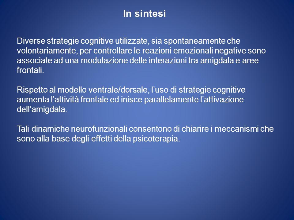 In sintesi Diverse strategie cognitive utilizzate, sia spontaneamente che volontariamente, per controllare le reazioni emozionali negative sono associ