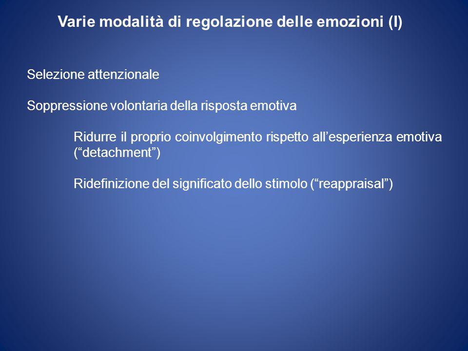 Varie modalità di regolazione delle emozioni (I) Selezione attenzionale Soppressione volontaria della risposta emotiva Ridurre il proprio coinvolgimen