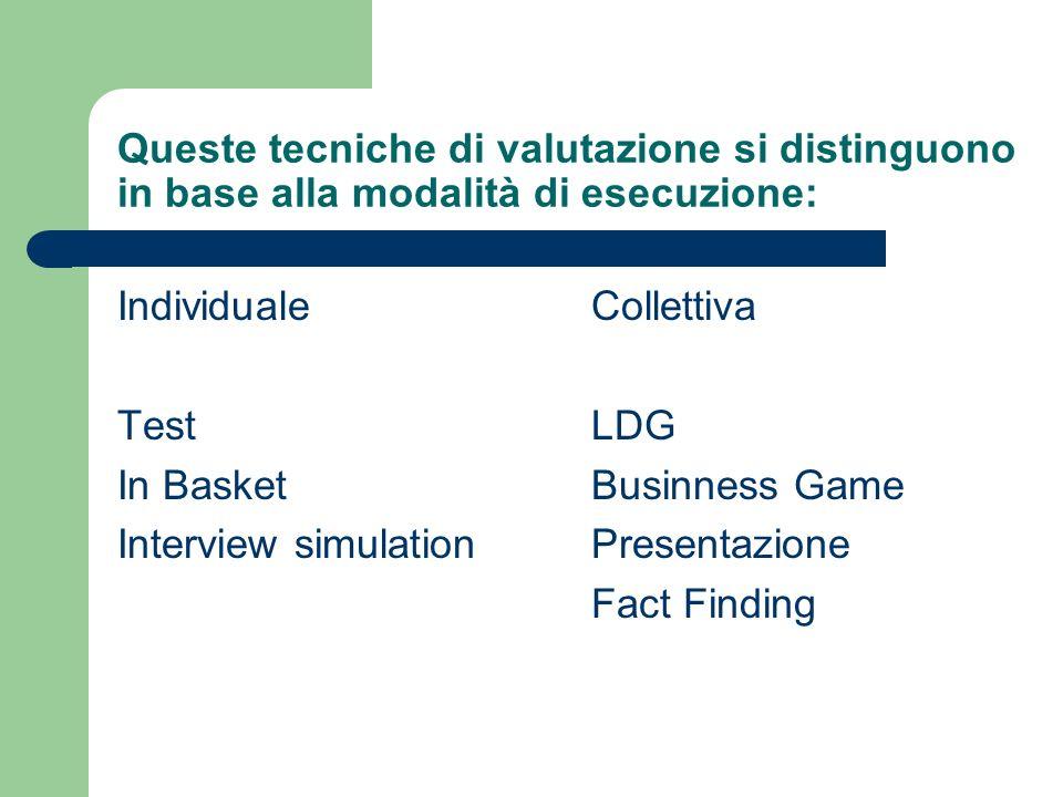 Queste tecniche di valutazione si distinguono in base alla modalità di esecuzione: Individuale Test In Basket Interview simulation Collettiva LDG Busi