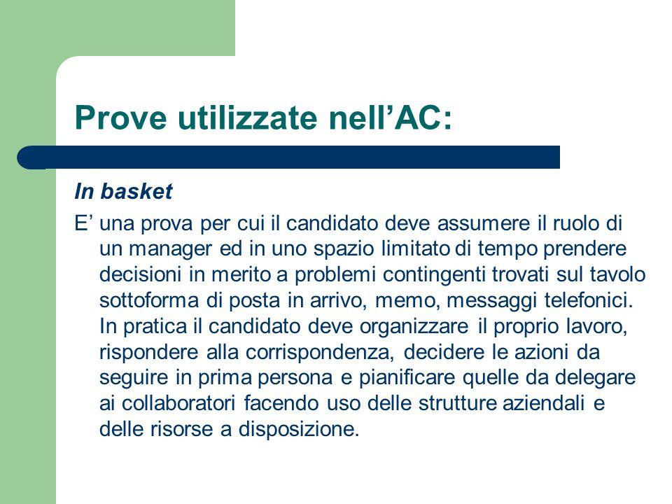 Prove utilizzate nellAC: In basket E una prova per cui il candidato deve assumere il ruolo di un manager ed in uno spazio limitato di tempo prendere d