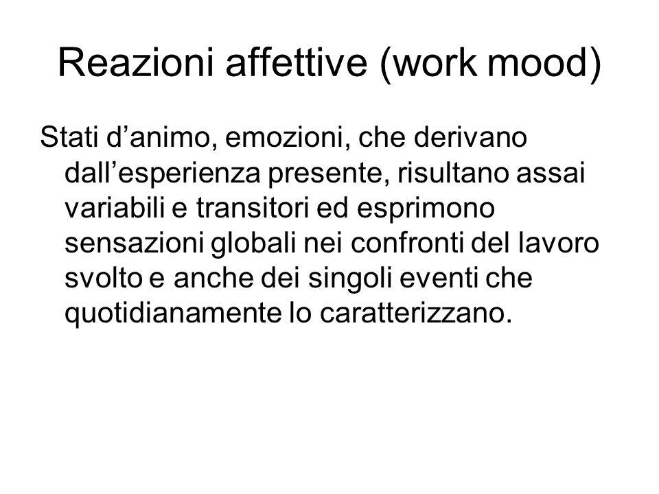 Reazioni affettive (work mood) Stati danimo, emozioni, che derivano dallesperienza presente, risultano assai variabili e transitori ed esprimono sensa
