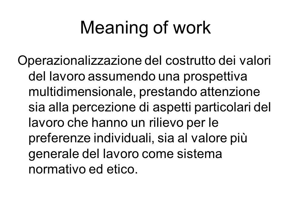 Meaning of work Operazionalizzazione del costrutto dei valori del lavoro assumendo una prospettiva multidimensionale, prestando attenzione sia alla pe