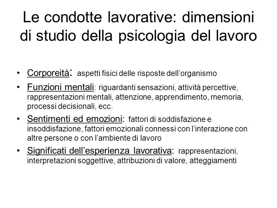 Le condotte lavorative: dimensioni di studio della psicologia del lavoro Corporeità : aspetti fisici delle risposte dellorganismo Funzioni mentali : r