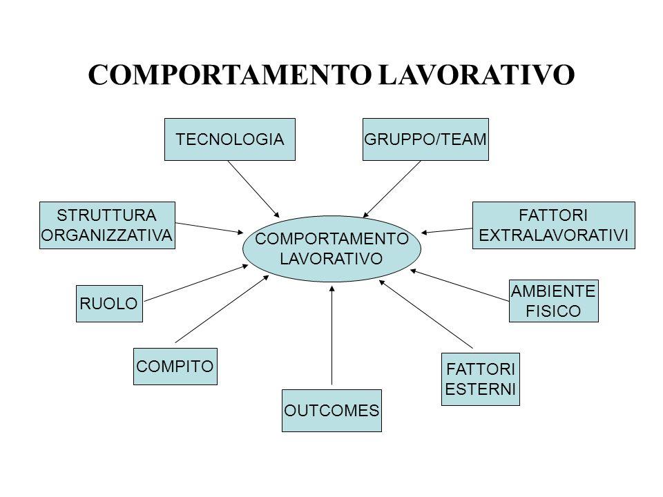 COMPORTAMENTO LAVORATIVO COMPORTAMENTO LAVORATIVO TECNOLOGIA STRUTTURA ORGANIZZATIVA RUOLO GRUPPO/TEAM FATTORI EXTRALAVORATIVI AMBIENTE FISICO FATTORI