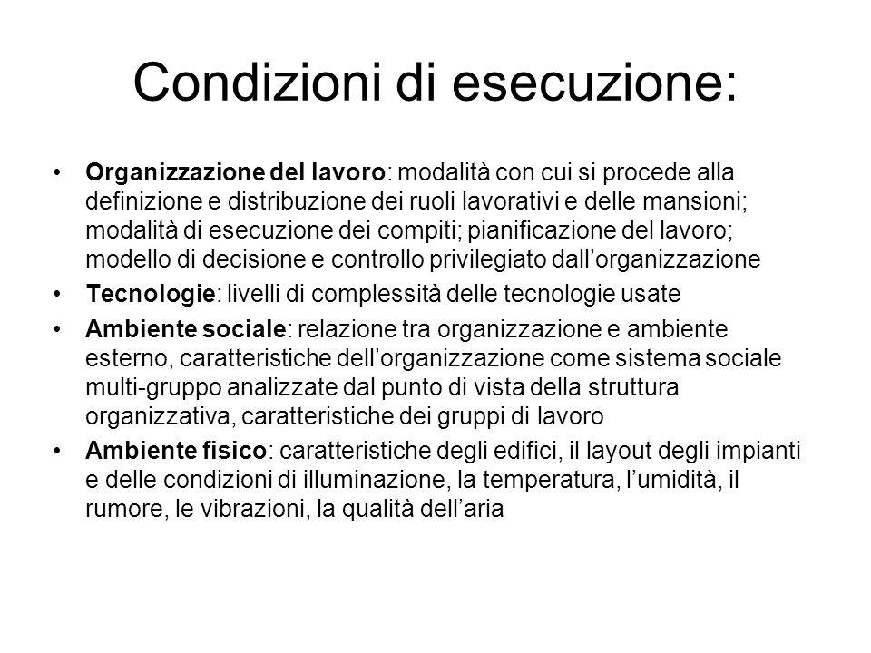 Condizioni di esecuzione: Organizzazione del lavoro: modalità con cui si procede alla definizione e distribuzione dei ruoli lavorativi e delle mansion