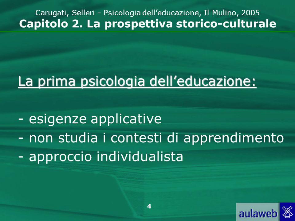 5 Carugati, Selleri - Psicologia delleducazione, Il Mulino, 2005 Capitolo 2.