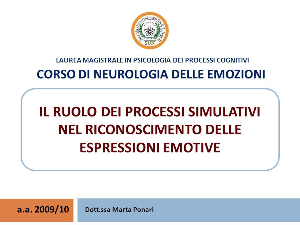 LAUREA MAGISTRALE IN PSICOLOGIA DEI PROCESSI COGNITIVI CORSO DI NEUROLOGIA DELLE EMOZIONI a.a. 2009/10 Dott.ssa Marta Ponari IL RUOLO DEI PROCESSI SIM
