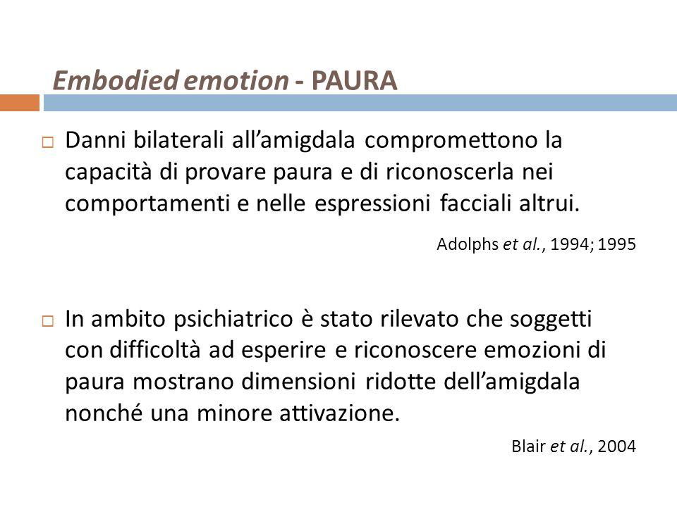 Embodied emotion - PAURA Danni bilaterali allamigdala compromettono la capacità di provare paura e di riconoscerla nei comportamenti e nelle espressio