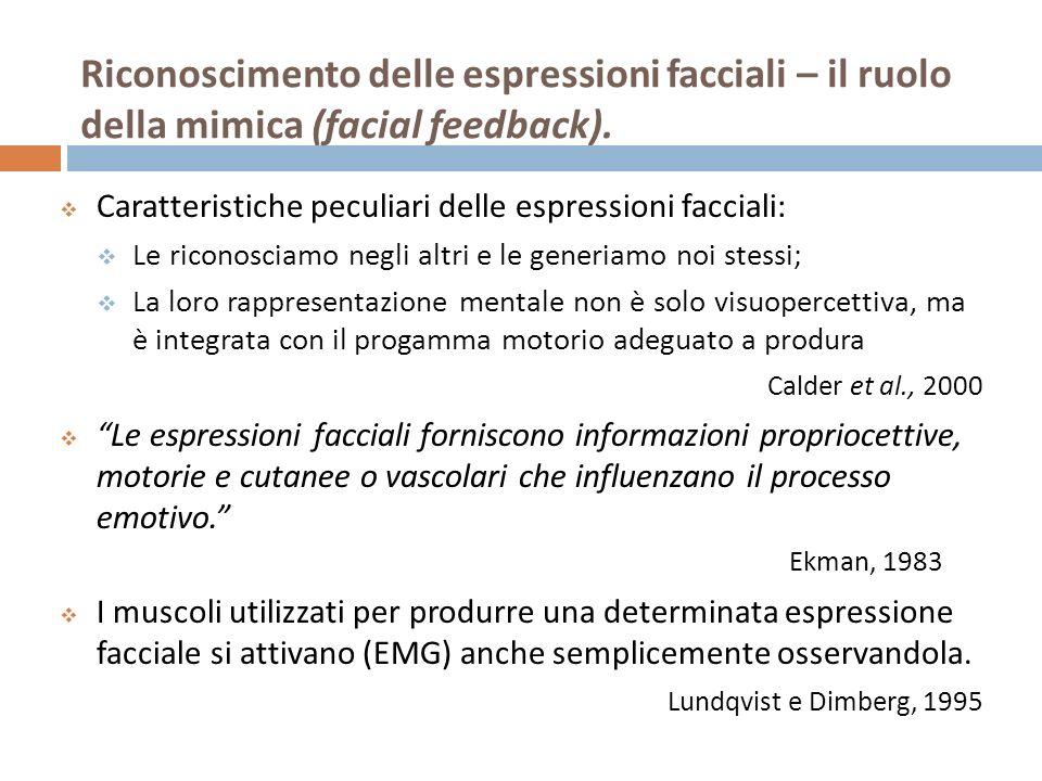 Riconoscimento delle espressioni facciali – il ruolo della mimica (facial feedback). Caratteristiche peculiari delle espressioni facciali: Le riconosc