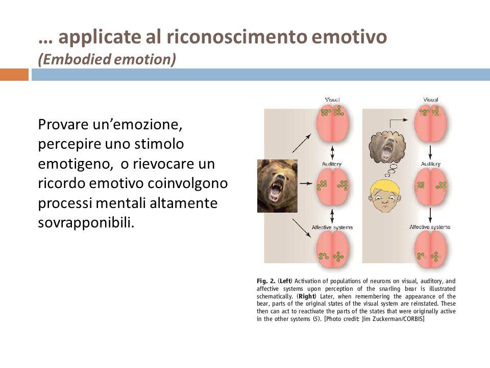 … applicate al riconoscimento emotivo (Embodied emotion) Provare unemozione, percepire uno stimolo emotigeno, o rievocare un ricordo emotivo coinvolgo