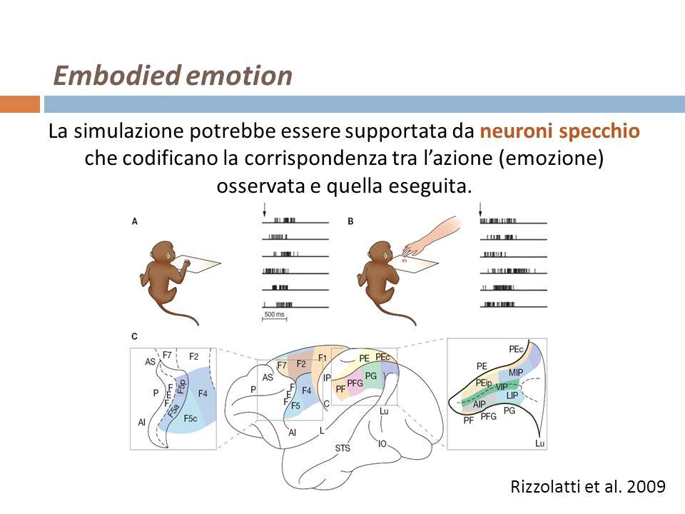 Rizzolatti et al. 2009 Embodied emotion La simulazione potrebbe essere supportata da neuroni specchio che codificano la corrispondenza tra lazione (em
