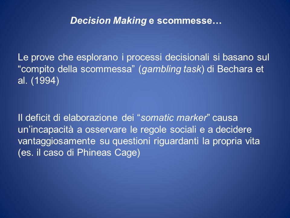 Le prove che esplorano i processi decisionali si basano sul compito della scommessa (gambling task) di Bechara et al.