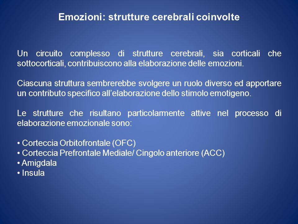 Emozioni: strutture cerebrali coinvolte Un circuito complesso di strutture cerebrali, sia corticali che sottocorticali, contribuiscono alla elaborazione delle emozioni.