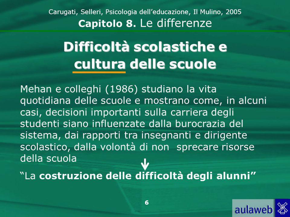 6 Carugati, Selleri, Psicologia delleducazione, Il Mulino, 2005 Capitolo 8.