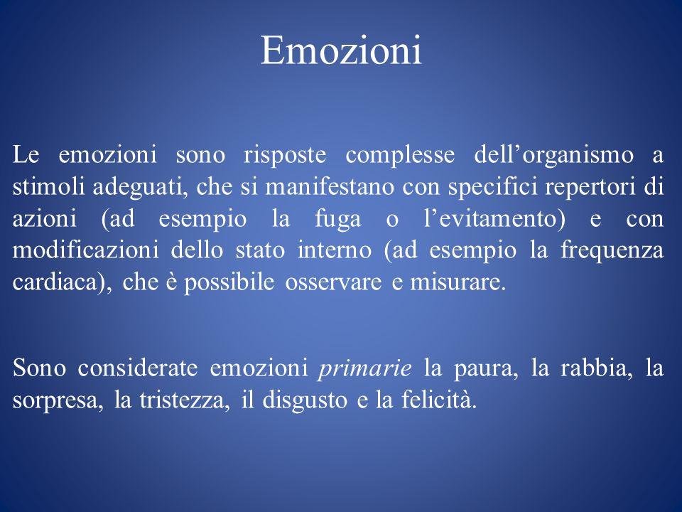 Elaborazione delle emozioni PERCEZIONE ED INTERPRETAZIONE DI UNO STIMOLO EMOTIGENO REAZIONI FISIOLOGICHE ALLO STIMOLO ESPRESSIONI VEGETATIVE E MOTORIE ESPERIENZA DELLEMOZIONE RICONOSCIMENTO DELLALTRUI STATO EMOZIONALE