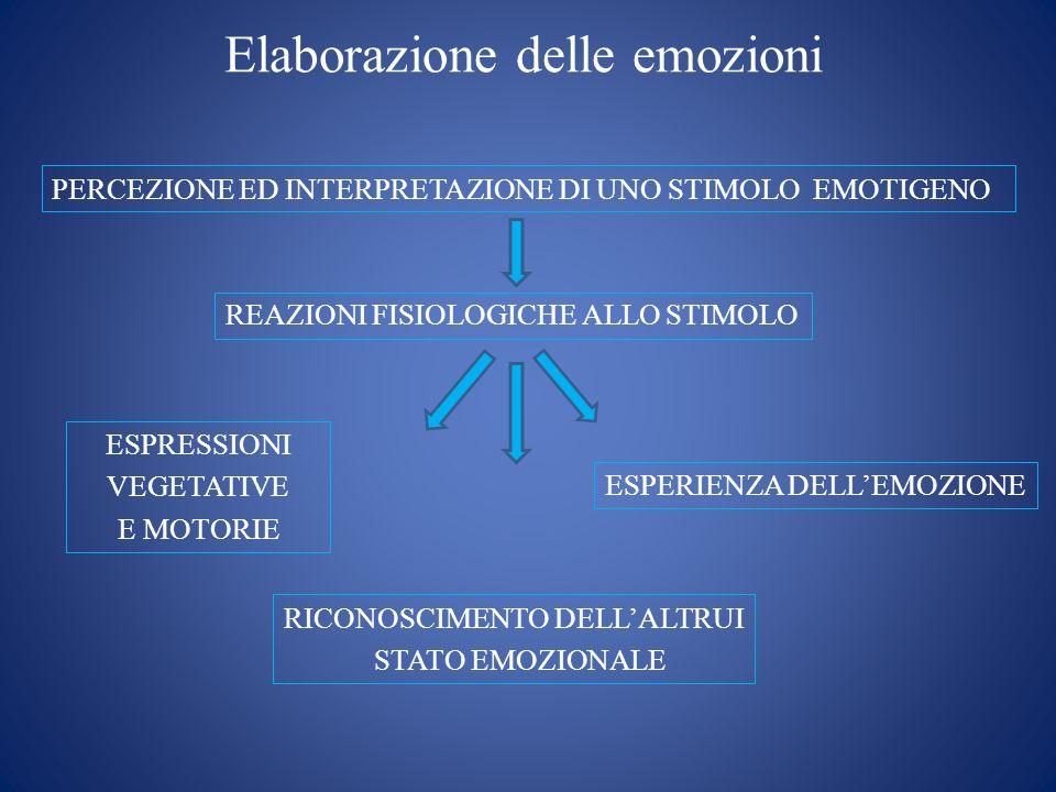 Elaborazione delle emozioni PERCEZIONE ED INTERPRETAZIONE DI UNO STIMOLO EMOTIGENO REAZIONI FISIOLOGICHE ALLO STIMOLO ESPRESSIONI VEGETATIVE E MOTORIE