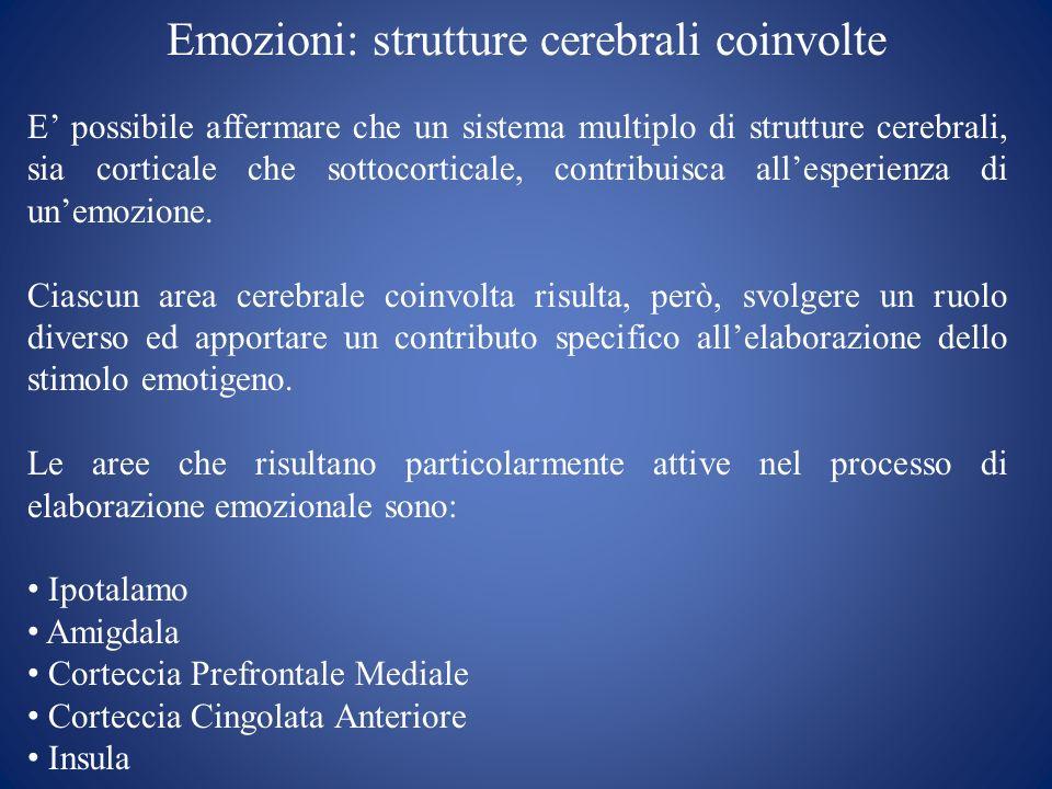 Emozioni: strutture cerebrali coinvolte E possibile affermare che un sistema multiplo di strutture cerebrali, sia corticale che sottocorticale, contri