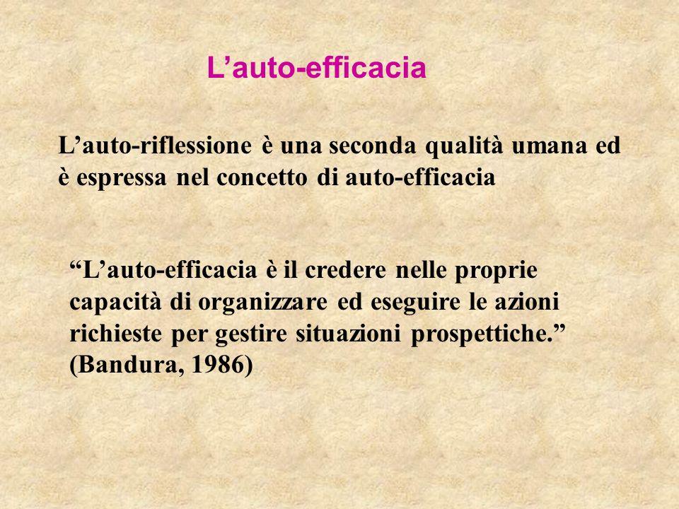 Lauto-efficacia Lauto-riflessione è una seconda qualità umana ed è espressa nel concetto di auto-efficacia Lauto-efficacia è il credere nelle proprie