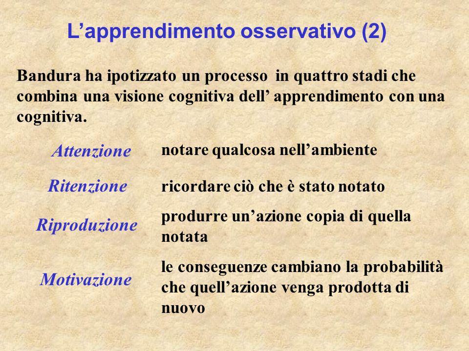 Lapprendimento osservativo (2) Bandura ha ipotizzato un processo in quattro stadi che combina una visione cognitiva dell apprendimento con una cogniti