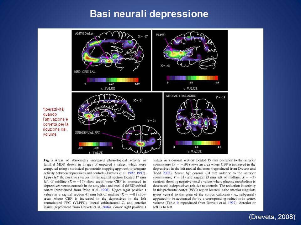 Interazione dorsale/ventrale (Phillips et al., 2003) Lassociazione tra uniperattività del sistema ventrale (strutture indicate in grigio scuro) ed una ipoattività del sistema dorsale (strutture indicate in grigio chiaro) rappresenterebbe il meccanismo neuro- funzionale allorigine della depressione.