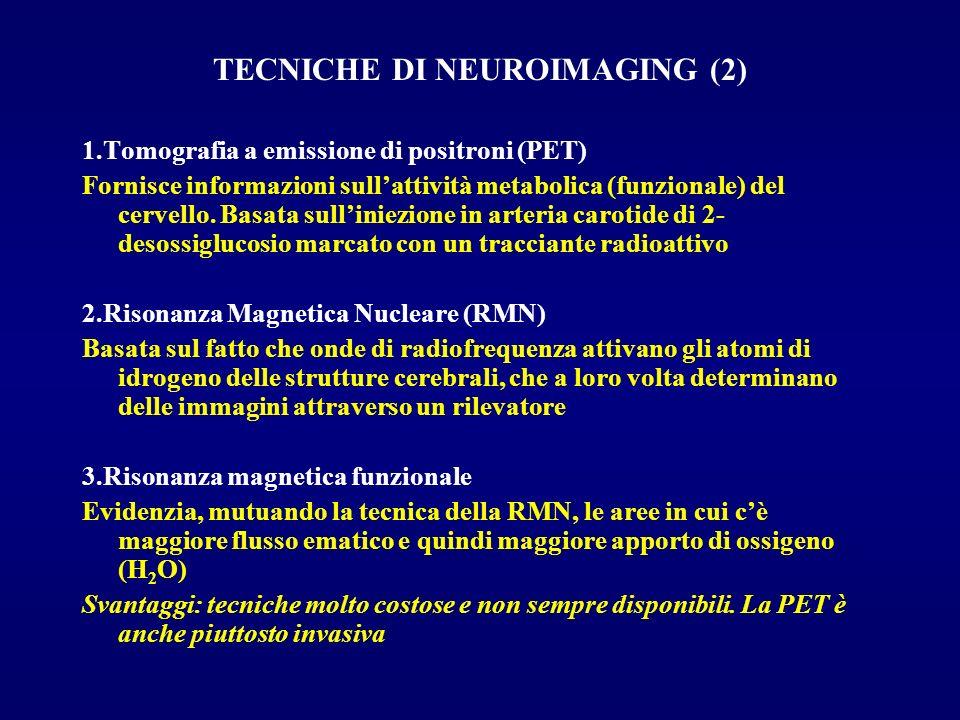 TECNICHE DI NEUROIMAGING (2) 1.Tomografia a emissione di positroni (PET) Fornisce informazioni sullattività metabolica (funzionale) del cervello. Basa