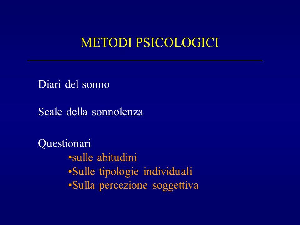 METODI PSICOLOGICI Diari del sonno Scale della sonnolenza Questionari sulle abitudini Sulle tipologie individuali Sulla percezione soggettiva