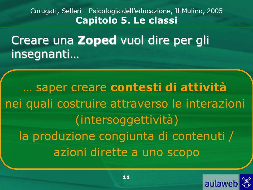 11 Carugati, Selleri - Psicologia delleducazione, Il Mulino, 2005 Capitolo 5. Le classi … saper creare contesti di attività nei quali costruire attrav