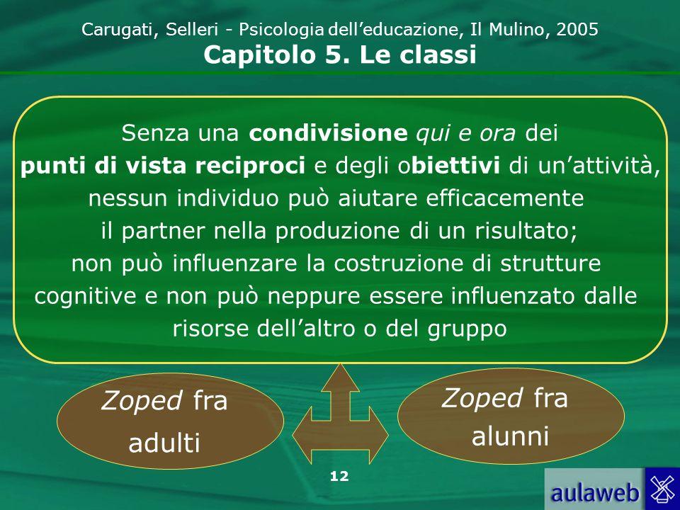 12 Carugati, Selleri - Psicologia delleducazione, Il Mulino, 2005 Capitolo 5. Le classi Senza una condivisione qui e ora dei punti di vista reciproci