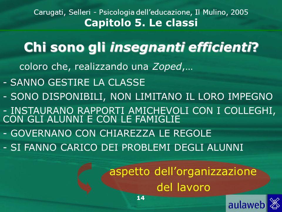 14 Carugati, Selleri - Psicologia delleducazione, Il Mulino, 2005 Capitolo 5. Le classi Chi sono gli insegnanti efficienti? coloro che, realizzando un